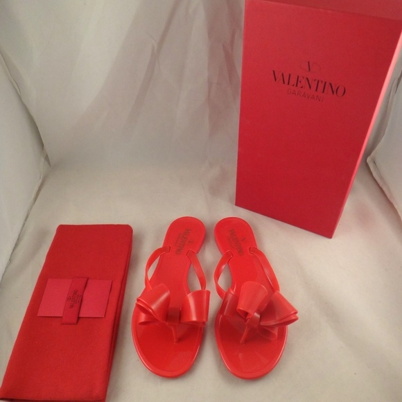 a3f95ca37 Valentino Rockstud Red Rubber Jelly Bow PVC Thong
